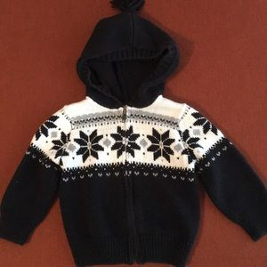Boys size 12-18 months zipper sweater w/hood